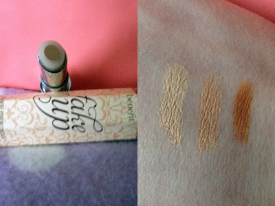 (The tube of Fakeup, showing the core and hydrating ring, and swatches inn light, medium & deep)