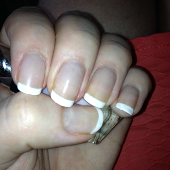 Such a gorgeous French mani. The pic can't do justice to just how SHINY! it is.