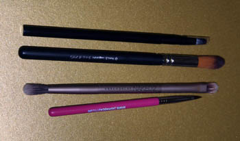 Top - Bottom: No. 7 lip brush, Royal & Langnickel Taklon Shadow brush. Urban Decay Shadow Brush (Naked 2 Palette), Sigma Eyeliner Brush