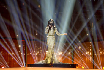Conchita during her performance - Image Credit Albin Olsson/Wikimedia Commons
