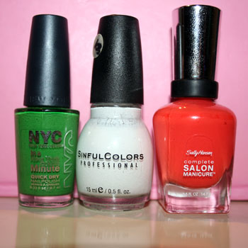 Flag: NYC High Line Green, Sinful Colors Snow Me White, Sally Hansen CSM Firey Island